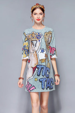 Fashion Runway Summer Dress Retro Vintage Half Sleeve Dresses