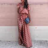 Summer Dress Sexy Pink Wave Point V-Neck Long Dress