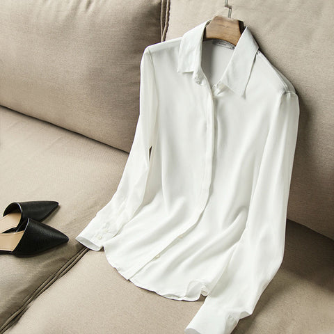 Silk Blouse Solid Long Sleeve Office Lady Shirt
