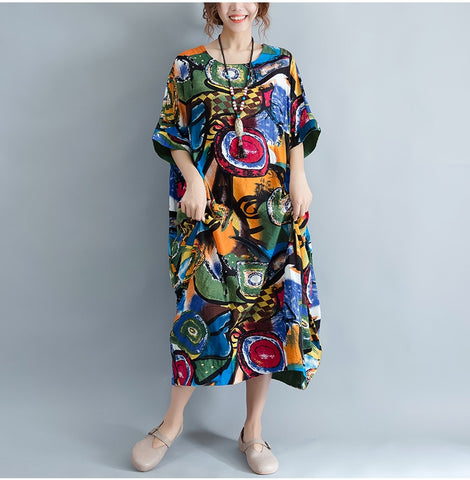 Plus Size Summer Pattern Print Dress Colorful Retro Vintage Dresses