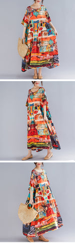 Plus Size Dress Summer Sundress Cotton Casual Maxi Dress