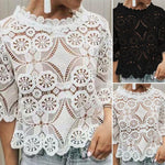 Fashion Sexy Lace Blusas Ladies Office Tank Tops