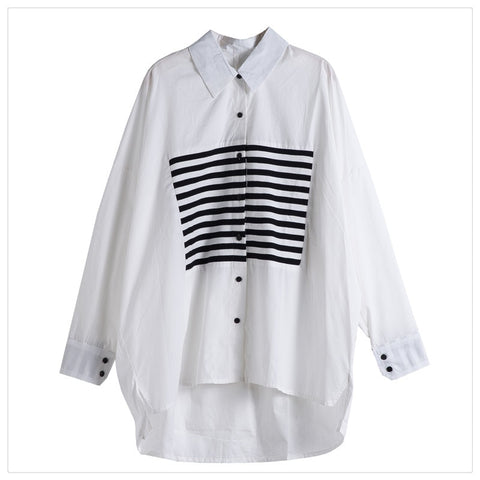 Blouse Shirt Basic Tops Print Striped Patchwork Casual