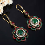 Drop Earrings Ethnic Long Clip Crystal Vintage Earrings