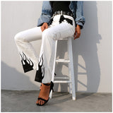 Casual Panelled Flame Print High Waist Long Flare Pant