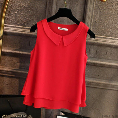 Chiffon Blouse Summer Sleeveless Top Office Lady Shirt