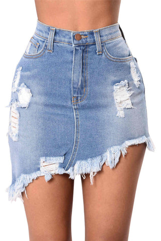 Casual Denim Midi Skirt Button Summer Bodycon