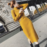 Bodycon Sweater Dress Winter Knitted Long Dresses