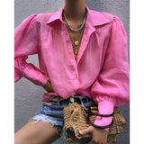 Autumn Lantern Loose Long Sleeve Blouse
