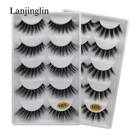 5 Pairs Natural Long Faux Mink Eyelashes