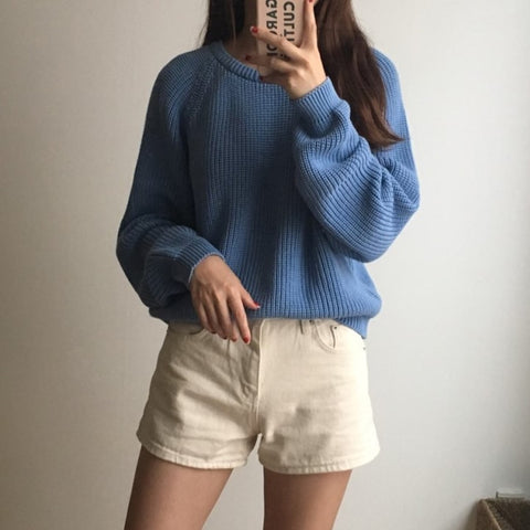 Solid O-Neck Pullover Knitting Sweater