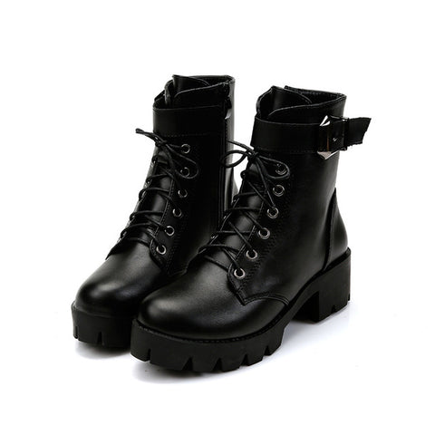New Buckle Motorcycle Boots Women British Style