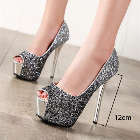 Platform Heels Shoes Peep Toe Pumps High Heels