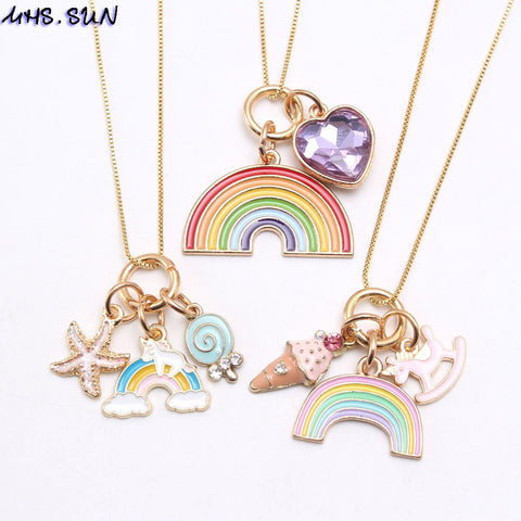 Fashion Rainbow Heart Starfish Pendants Necklace