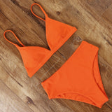 Bikini Solid Bathing Suit High Waist Swimwear
