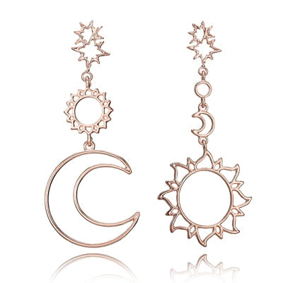 Star Moon Drop Dangle Earrings