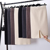 Bodycon Elegant Midi Pencil Skirt Autumn Winter Casual Knitted Skirts