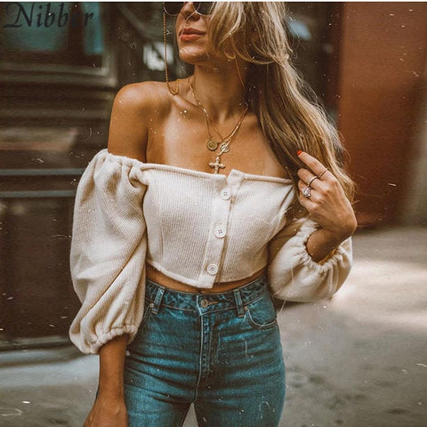 Sexy Slash Neck Top Autumn Elegant White Crop Top
