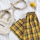 Vintage Yellow Plaid Summer Pants Casual Ankle Length