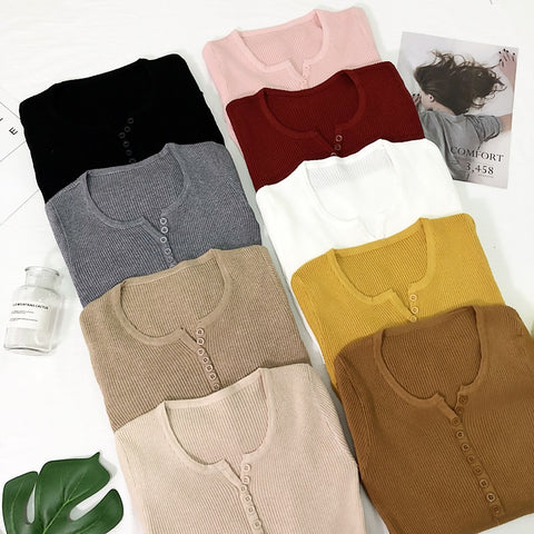 New 2019 Spring Button V Neck Sweater