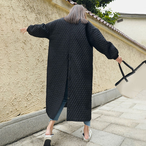 New Fashion Black Oversize Lapel Back Vent