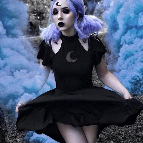 Gothic Punk Moon Pattern Dress