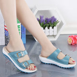 Buckle Leather Slides Slippers Solid Thick Sole Heels Flip Flops