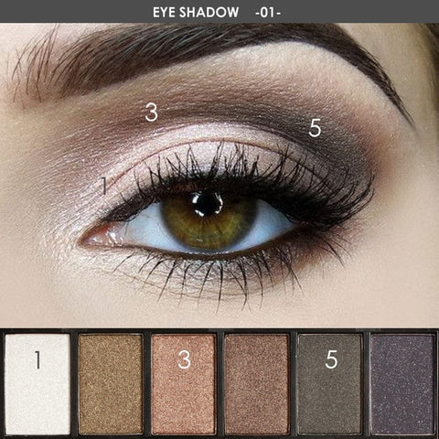 6 Colors Eyeshadow Palette Glamorous Smokey Color Glitter