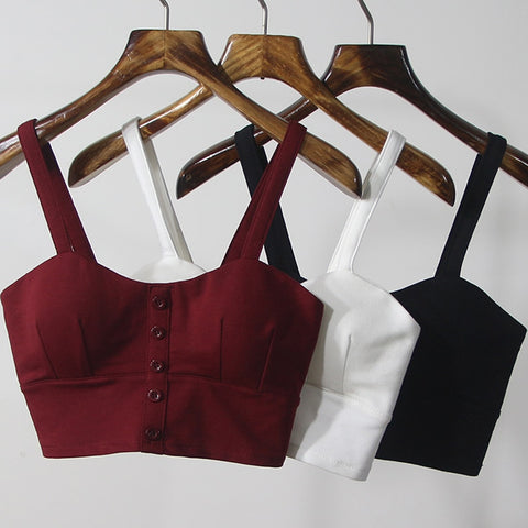 Crop Camis Halter Top Sexy Slim Low Chest Button