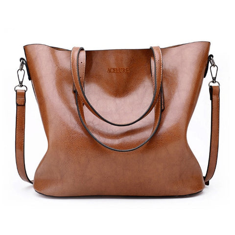 Women Shoulder Bag Oil Wax Leather Large Capacity Tote Bag