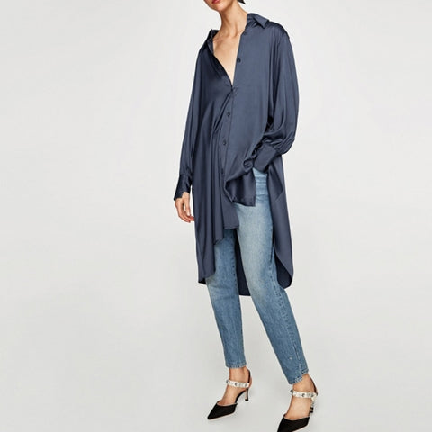 Spring Woman Blue Satin Shirt Asymmetric Long Blouse