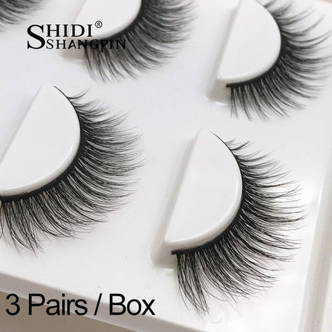 New 3 Pairs Natural False Eyelashes 3D