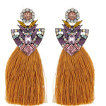 Long Yellow Tassel Earrings Crystal Rhinestone