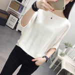 Elegant Knitted Tops And Blouses Batwing Sleeve