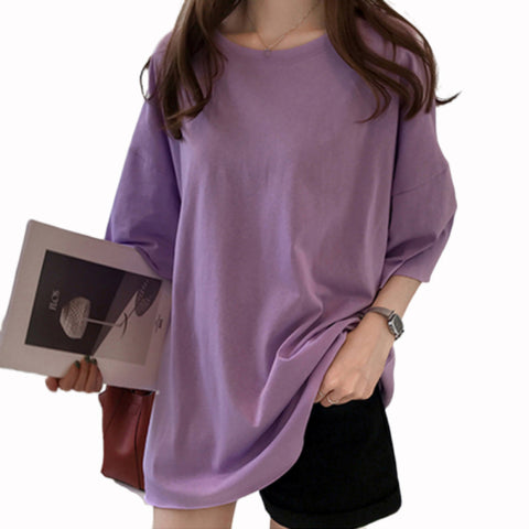 Oversize T-shirt Candy Color O-Neck Elastic Long