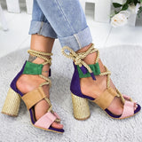 Fashion Pumps Heels Lace Up Gladiator Sandals Summer Shoes