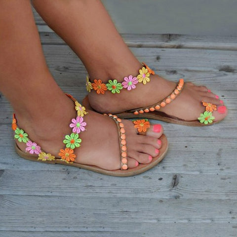 Summer Gladiator Sandals Flat Fashion Sweet Flowers Boho Shoes