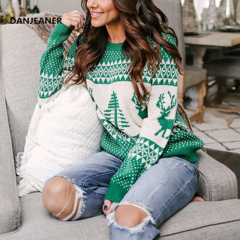 Christmas Sweater Winter Classic Deer Printed Knitted Pullover