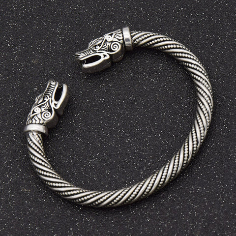 Image of Viking Wolf Head Silver Bracelet