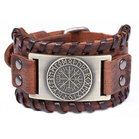 Vintage Viking Compass Leather Bracelet