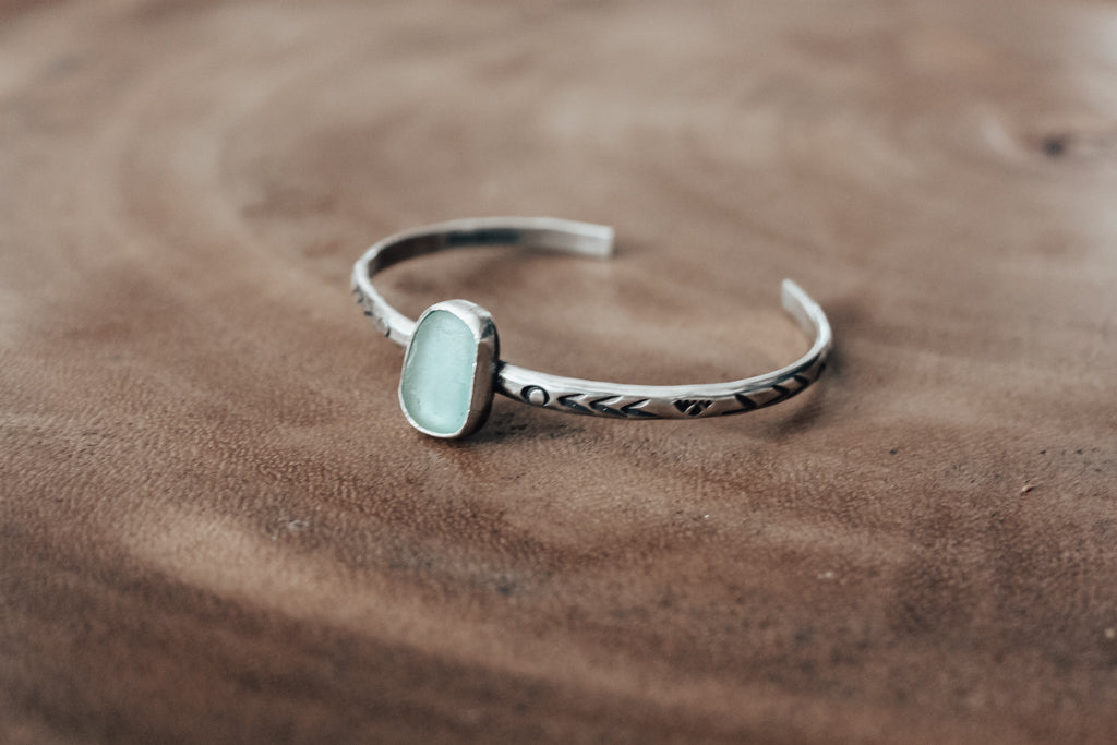 Sea Glass Stacking Cuff #1