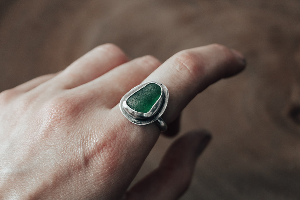Bright Green Sea Glass Ring