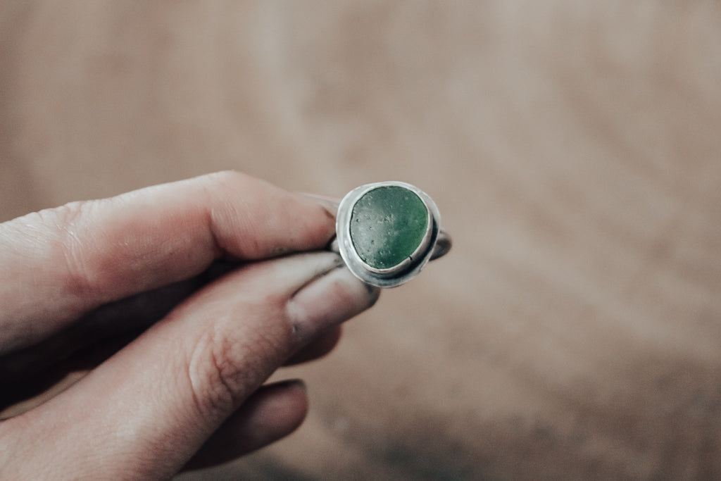 Olive Sea Glass Ring