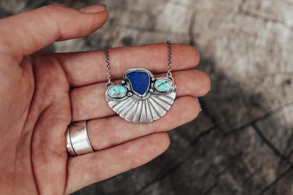 Cobalt Sea Glass & Turquoise Fan Necklace
