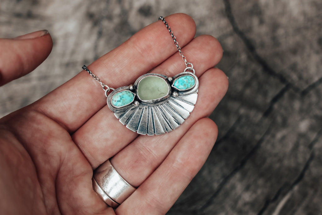 Aqua Sea Glass & Turquoise Fan Necklace