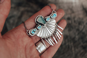 Aqua Sea Glass & Turquoise Fringed Fan Necklace