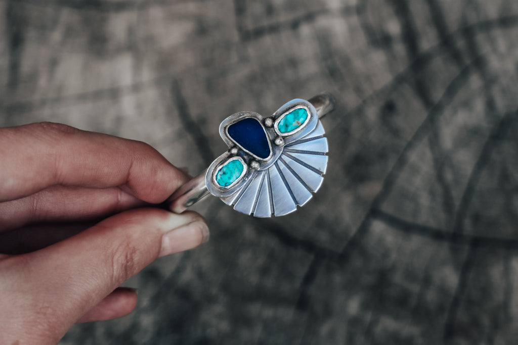 Cobalt Sea Glass & Turquoise Fan Cuff