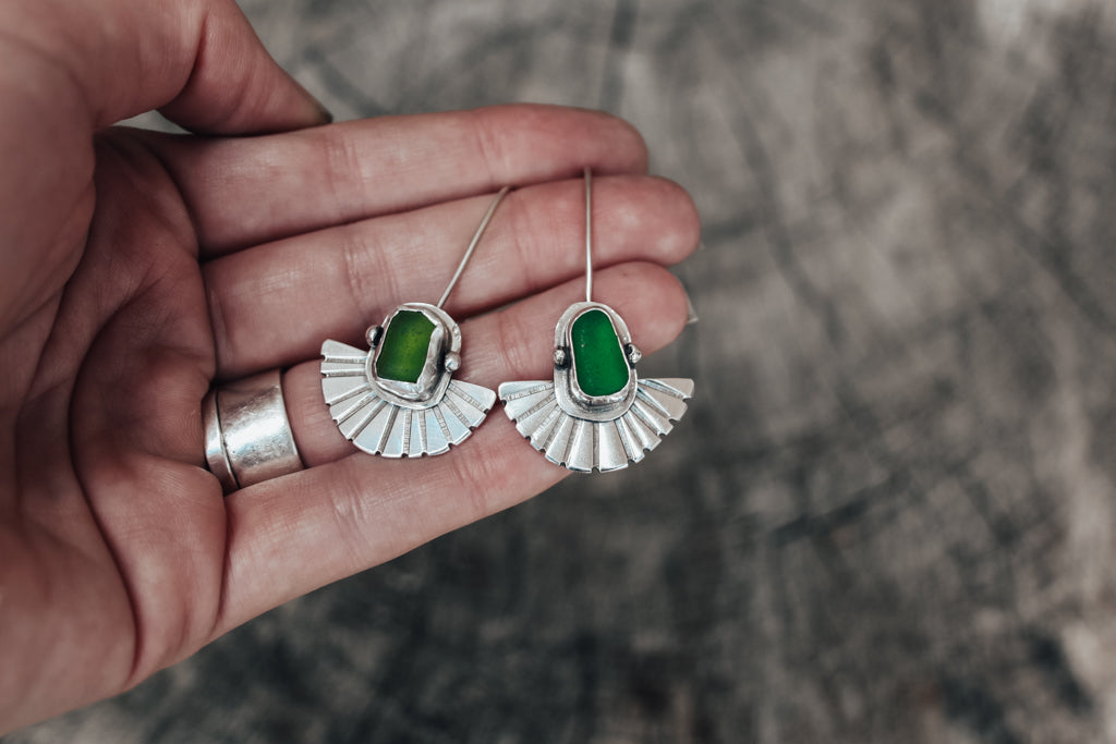 Sea Glass Fan Earrings