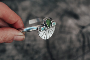 Green Sea Glass & Turquoise Fan Cuff