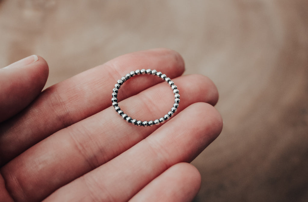 simple silver beaded ring